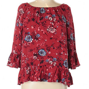 Faded Glory Boho Floral Blouse with Ruffle Sleeves